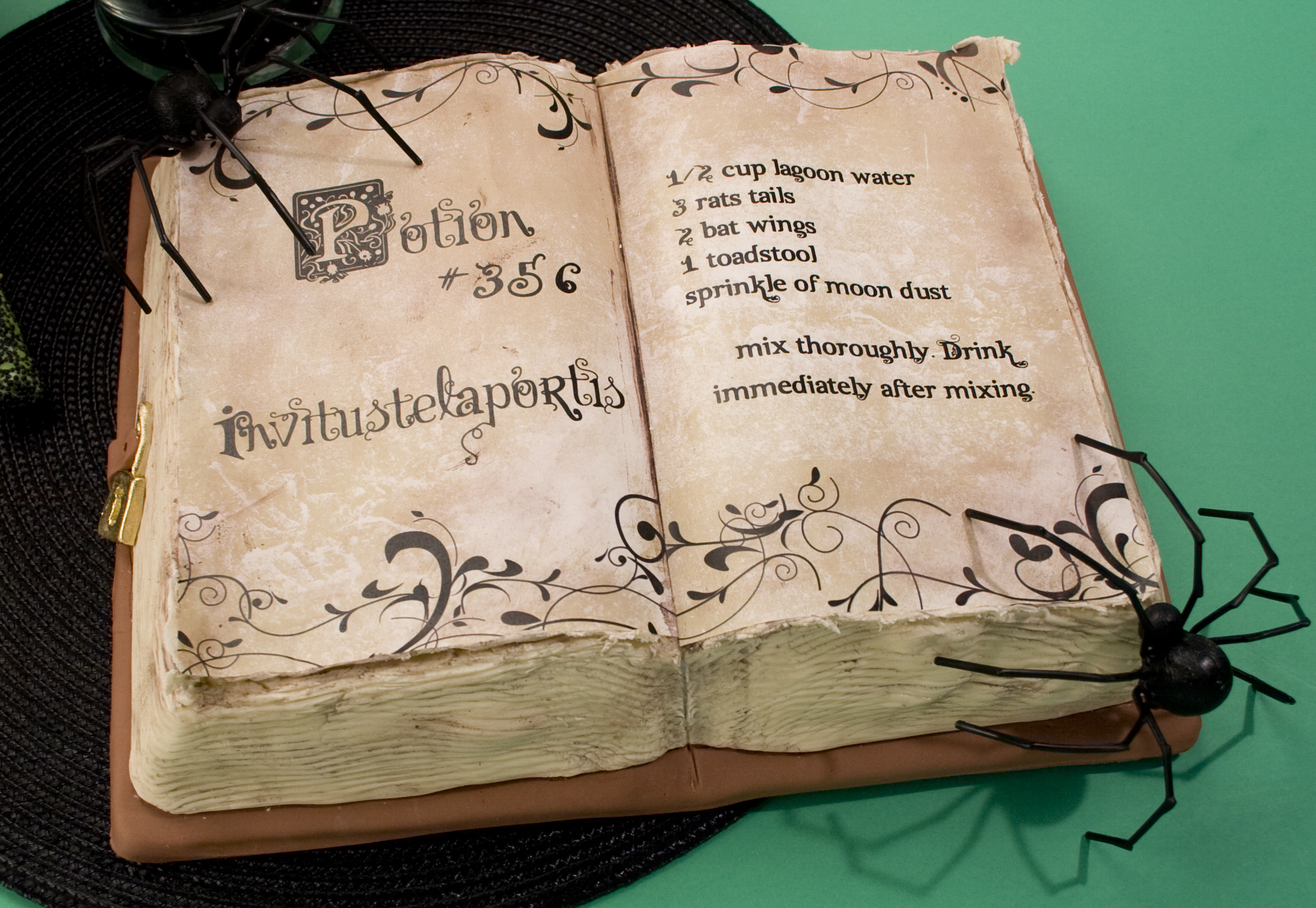 Cake Decorated Like Books : Halloween Potion Book Cake and Creepy Edible Things ...